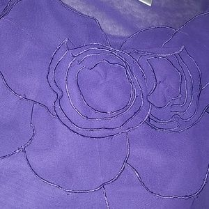 Purple flower applica sheer shirt